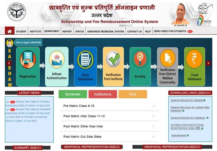छात्रवृत्ति एवं शुल्क प्रतिपूर्ति ऑनलाइन प्रणाली उत्तरप्रदेश